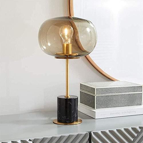 NA Gel Nail Europäische Luxus Schlafzimmer Nachttischlampe Moderne minimalistische Persönlichkeit Kreatives Glas Licht Marmor Tischlampe 25 * 45cm (Farbe: Schwarz)-Schwarz