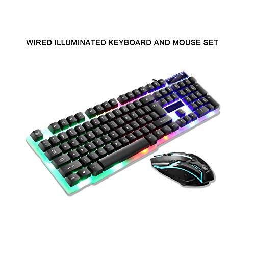 WYSSS Juego De Teclado Y Mouse con Iluminación por Cable Teclado Y Mouse USB Teclado Y Mouse con Retroiluminación Flotante del Arco Iris Personajes Altamente Impermeables, De Alta Definición