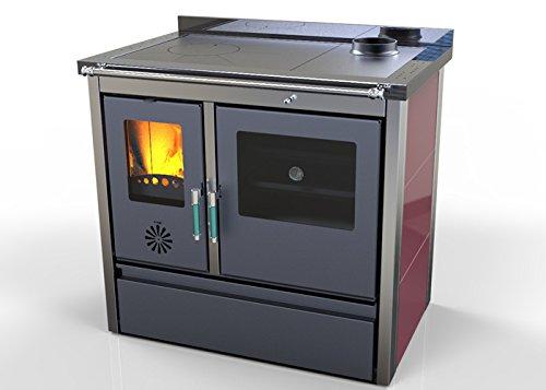 Hosseven, estufa de cocina de leña LOTUS con horno hierro fundido 11 kW, bio eficiencia clase energética A+ eco calefacción y bioclimatismo sostenible