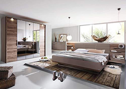lifestyle4living 5-TLG. Schlafzimmer in Fango/Abs. in Sanremo Eiche dunkel Nb, Schrank, Passepartout B: 256 cm, Bett Liegefläche 180x200 cm, 2 Nachttische B: 61 cm