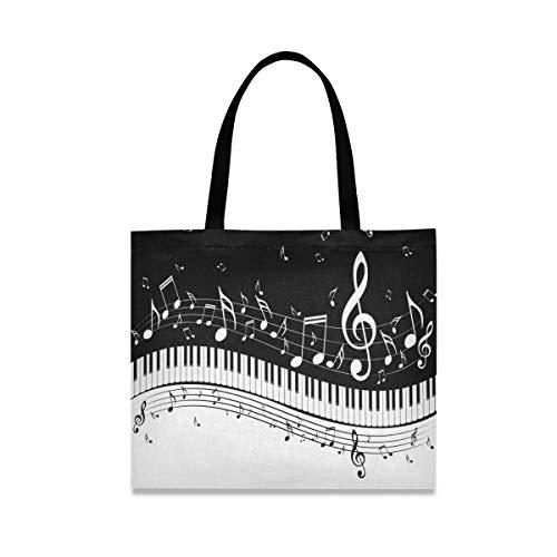 ALARGE Vintage Klavier Musiknoten Canvas Tote Bag, Große Casual Schule Shopping Schulter Lebensmittel Tasche Handtasche mit langen Griffen für Frauen Mädchen