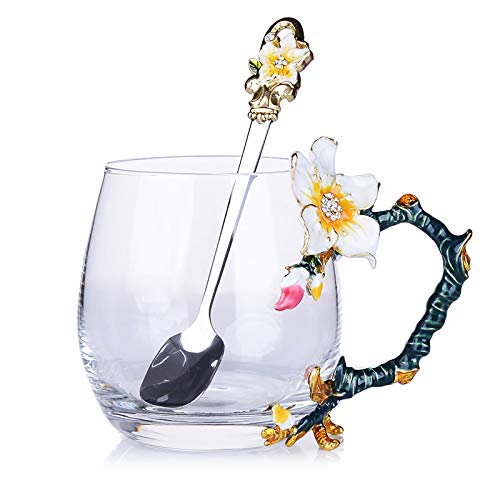 VYEKL Aprikosen Blume Tasse Teetasse bleifreies Glas Tasse Teetasse 330ml 2 Packungen