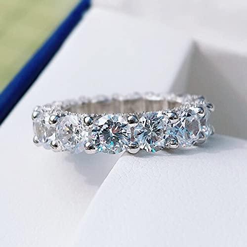 YANGYUE Clásico Plata de Ley 925 Corte Ovalado Creado Moissanite Diamantes Piedras Preciosas Anillos de Compromiso Joyería Fina