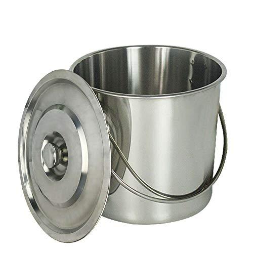 SHIOUCY 20 Liter Edelstahl Industrie Küche Eimer Futtereimer Milcheimer Eiseimer Kücheneimer Wassereimer Tränkeeimer Sektkühler + Deckel (6L)