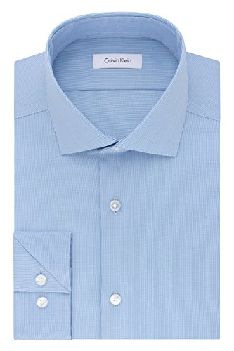 Calvin Klein Men's Dress Shirt Slim Fit Non Iron Stretch Solid, French Blue, 15' Neck 32'-33' Sleeve (Medium)