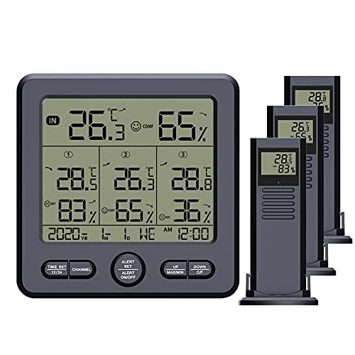 Higrómetro-Termómetro Higrómetro Termómetro Higrometro Digital para Interior Termómetro Higrómetro Digital Portátil Termómetro Interior / Exterior con 3 Sensores Display Min / Max