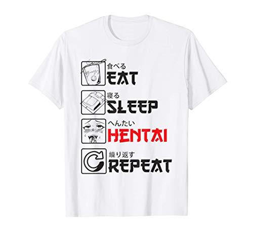 Eat Sleep Hentai Repeat - Lewd Anime Girl Ahegao Face Camiseta