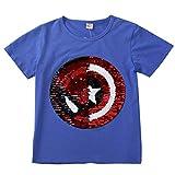 男の子と女の子の魔法のスパンコールTシャツ90-150cm (130, ブルー)