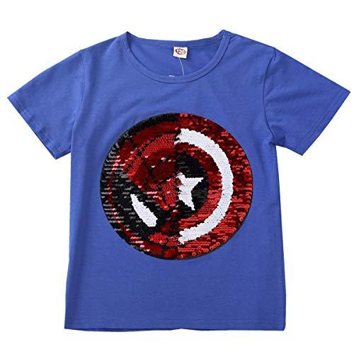 Niño niña Camiseta con Lentejuelas Camiseta mágica de Lentejuelas de Manga Corta (4-5 años de Edad, H)