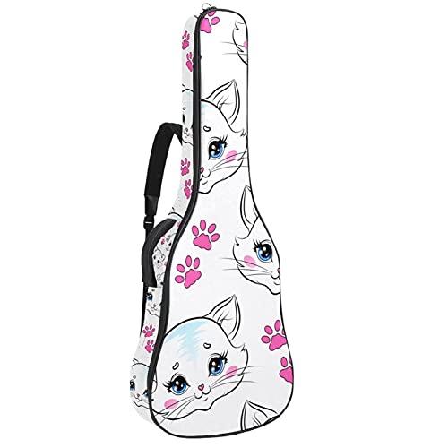 Funda de Guitarra Lindo gato garra rosa Bolso de guitarra 40 41 pulgadas 10mm Acolchada con 2 bolsillos para Guitarra Acústica Clásica y Eléctrica 109x43x12cm