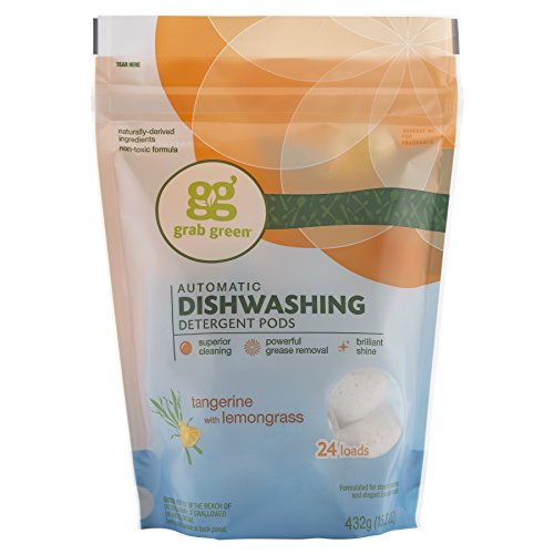 Grab Green Automatic Dishwashing Detergent Pods, 24 Count, Tangerine Lemongrass Scent, Plant and Mineral Based, Superior Cleaning, Powerful Grease Removal, Brilliant Shine