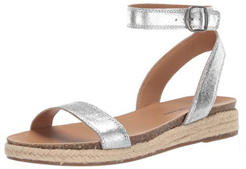 Price comparison product image Lucky Brand Women's GARSTON Espadrille Wedge Sandal,  Silver,  9 M US