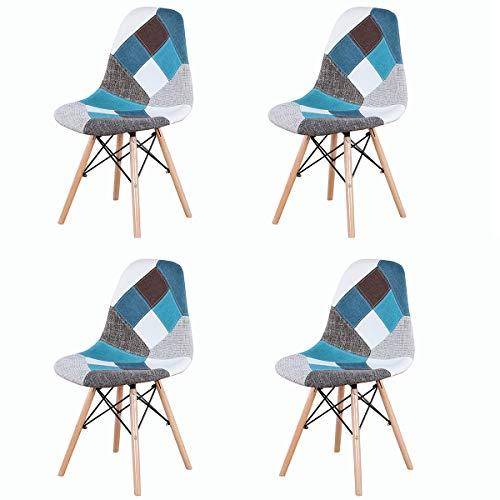 GroBKau - Set di 4 sedie da pranzo moderne in tessuto patchwork con base in legno, ideali per soggiorno, sala da pranzo, caffè, sala d'attesa, ecc. (blu)