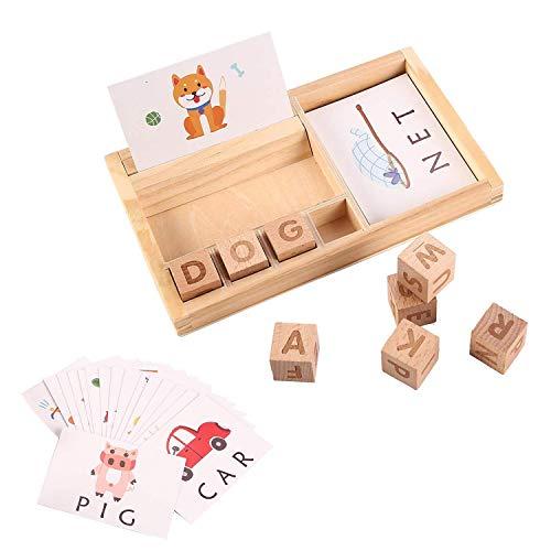 Jacootoys Cartas Correspondencias Juego de ortografía Madera para Niños Preescolar Palabras Aprendizaje Juguete con 30 Tarjetas Flash
