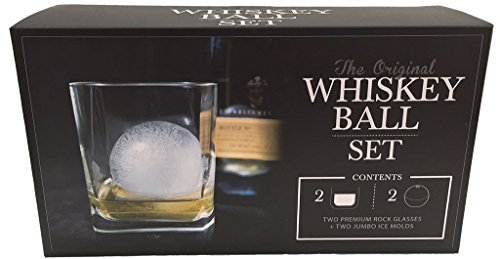 The Original Whiskey Ball Duo Gift Set (Includes 2 Round Ice Molds, 2 Libbey Rock Glasses)