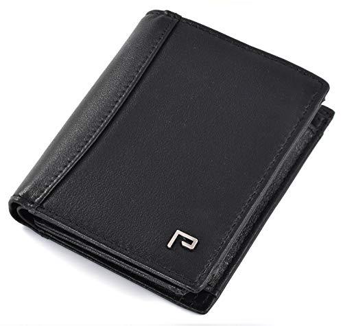 Cartera de Piel para Hombre   Tarjetero y Billetero   RFID Bloqueo   con Bolsillo para Monedas [Negro]
