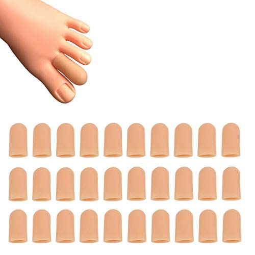 30 Pieces Gel Toe Caps, Silicone Toe Protector, Toe Covers, Protect Toe from Rubbing, Ingrown Toenails, Corns, Blisters, Hammer Toes and Other Painful Toe Problems (Small,Beige)