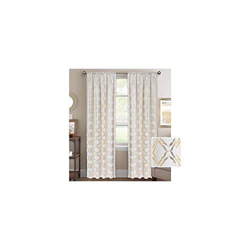 BH&G Metallic Trellis Gold Foil Curtain Panel 52u0022 X 84u0022 848322029077