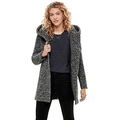 ONLY Damen ONLSEDONA Boucle Wool Coat OTW NOOS Mantel, Grau (Light Grey Melange Detail: Melange), 34 (Herstellergröße: XS)
