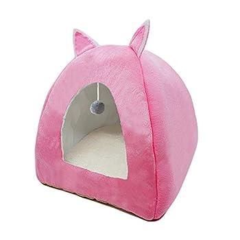 ZhiTianGroup Pliable Cat Bed Location Warming Maison d'intérieur avec Cat Amovible Matelas Puppy Cage Lounger Sofa nid de Chat (Color : Brown with Ball, Size : M 36CMx36CMx40CM)