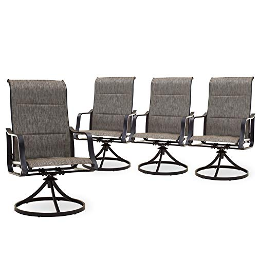 PatioFestival Patio Dining Chairs Set of 4 Textilene Outdoor High Back Swivel Rockers with All Weather Frame (Grey)