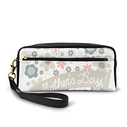 Pencil Case Pen Bag Pouch Stationary,Spring Flowers Forming A Heart Shape with Mothers Day Text,Small Makeup Bag Coin Purse