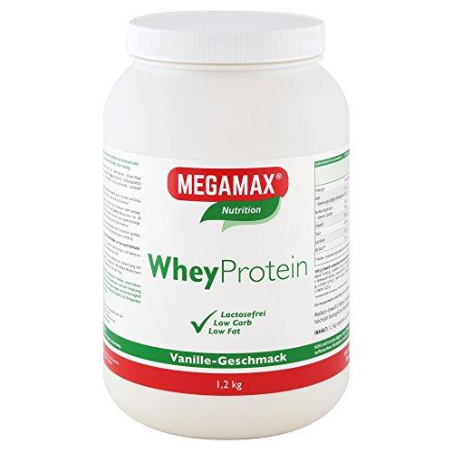 MEGAMAX Whey Protein Drink Molkeneiweiß Vanille 1.2 kg   laktosefreie Molkeneiweißisolat   hochwertiges Low Carb Molkeprotein-Isolat   Eiweiß-Shake ideal für Muskelaufbau, Knochen u. Fitness