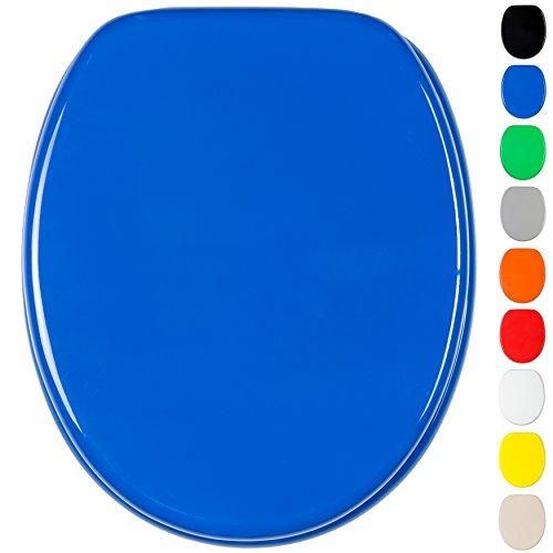 WC Sitz mit Absenkautomatik, viele einfarbige WC Sitze zur Auswahl, hochwertige und stabile Qualität aus Holz (Blau)