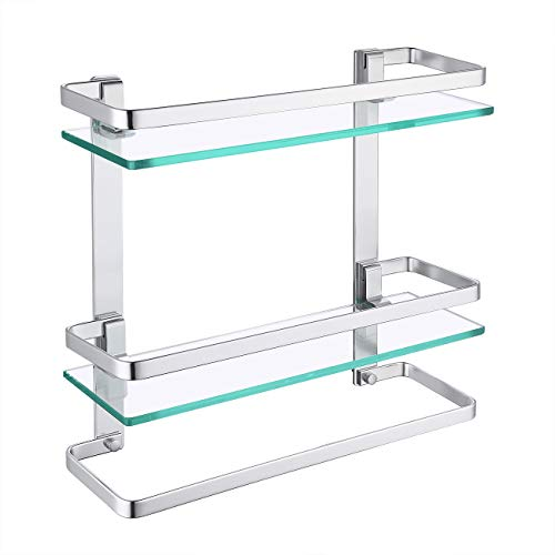KES Bathroom Tempered Glass Shelf 2 Tier Storage Glass Shelf Rectangular with Towel Bar Wall Mounted Anodized Aluminum Finish, A4127B
