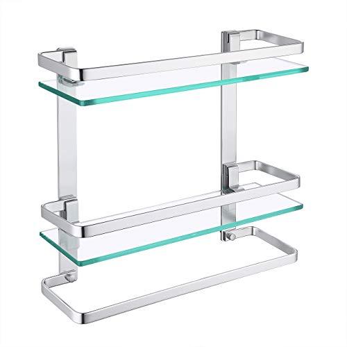 KES Duschablage Glas 8mm Duschablage Hängeregal Glasablage für Badezimmer Wandregal Dusche Ablage mit Handtuchstange 2 Regale Hängen Aluminium Eloxiert Silber, A4127B
