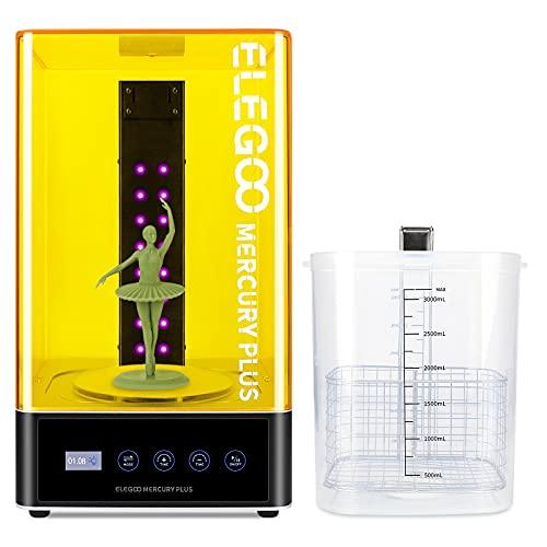 ELEGOO Mercury Plus 2 in 1 Integrierte Maschine zum Waschen und Aushärten, Harz UV LED Härtungsbox Benutzt für LCD/DLP/SLA 3D Gedruckt Modelle mit Rotary Aushärten Drehscheibe und Waschen Eimer