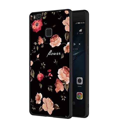 ZhuoFan Funda Huawei P9 Lite Cárcasa Silicona Ultrafina Negra con Dibujos Diseño Suave TPU Gel Antigolpes de Protector Piel Case Cover Bumper Fundas para Movil Huawei P9Lite 2019, Las Flores