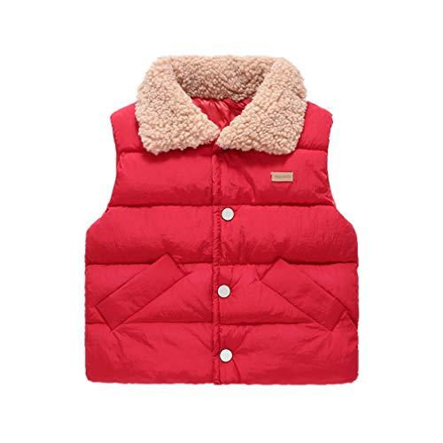 UGUAX Kinder Daunenweste Jacke Weste Winter Warm Fleece Ärmellos Jacken für Mädchen Jungen Gr. Höhe 100 cm, rot