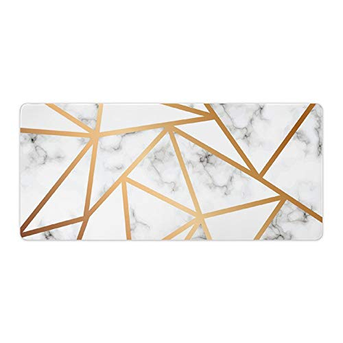 """SUPNON Thin Gaming Mouse Pad Vector Marble Texture Design with Golden Geometric Lines, Black and White Marbling Surface Large Thick Extended Mouse Mat Desk Pad for Keyboard, PC 35.4"""" x 15.7 No-125"""