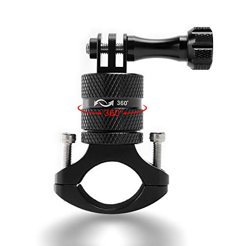 Action Caméra 360 degrés de rotation du Support vélo moto en aluminium Adaptateur de guidon pour Apeman Victure Gopro Hero 5 Session/5/4, Session/4/3 +/3/2/1, Hero6, Hero7,SJ6000 Xiaomi yi2 Sjcam