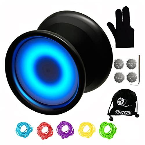 MAGICYOYO Light Up Yoyo with Extra Battery, Y02 Aurora Professional Unresponsive Yoyo with Yoyo Glove, Yoyo Bag, 5 Yoyo Strings