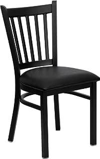 Flash Furniture HERCULES Series Black Vertical Back Metal Restaurant Chair - Black Vinyl Seat