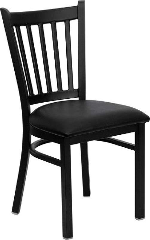 Flash Furniture HERCULES Series Black Vertical Back Metal Restaurant Chair Black Vinyl Seat