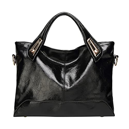 Lurrose Bolso para mujer de cuero auténtico de cera de lujo, vintage, bolso de hombro, bolso bandolera (marrón claro), Black (Negro) - 1203UD192N
