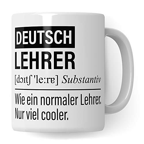 Deutsch Lehrer Tasse, Geschenk für Deutschlehrer, Kaffeetasse Geschenkidee Lehrer lustig, Kaffeebecher Lehramt Schule Deutsch Unterricht Witz