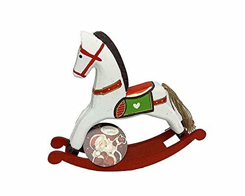 Fair Shop Cavallo a Dondolo 21 cm in Legno Decorazioni Natalizie Addobbi di Natale