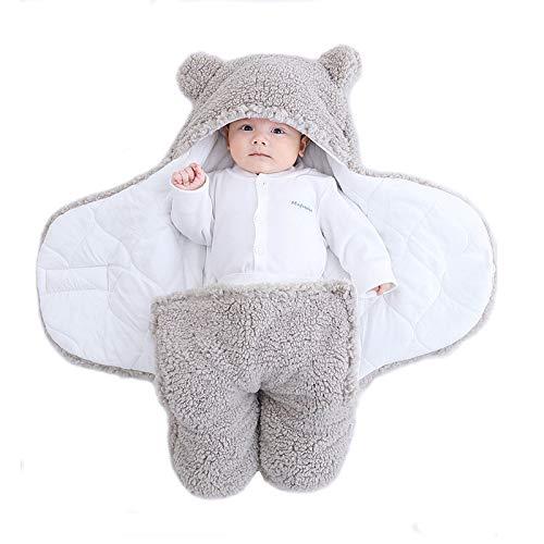 Yanding Saco de dormir envuelto para bebé, forma de oso de peluche, adecuado para bebés de 0 a 6 meses, mantas de felpa unisex, fácil de limpiar (3 a 6 meses, gris)
