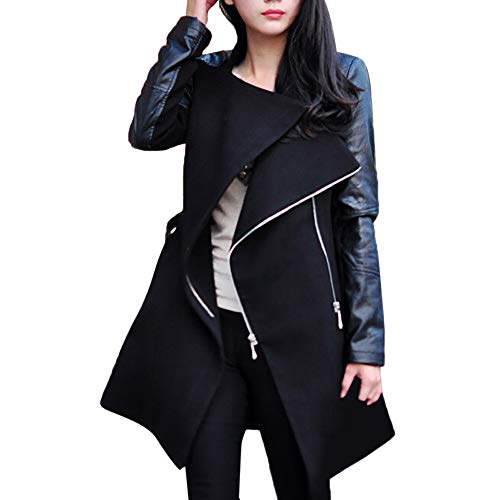 Frashing Ledermantel Winter Outwear Hooded Zipper Mantel Damen Warm Slim Fit Patchwork Leder Jacke Trenchcoat Wintermantel Übergangs Jacke Parka Lang