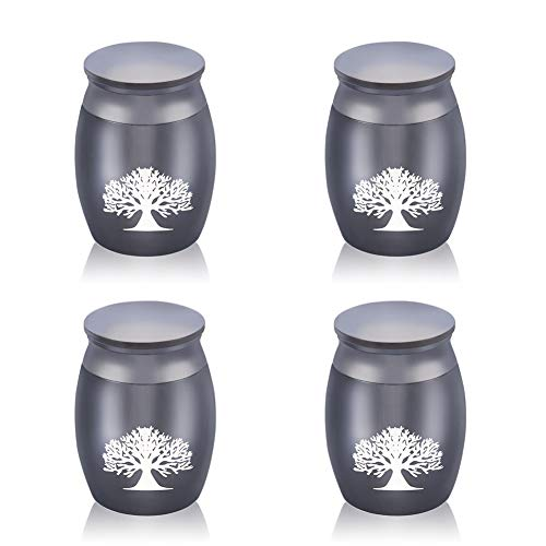 Custom Engraved Tree of Life Keepsake Funeral Urn for Ashes Set of 4 - 40mmx30mm Mini Cremation Urn for Human Ashes Adult - Fits a Small Amount of Cremated Remains