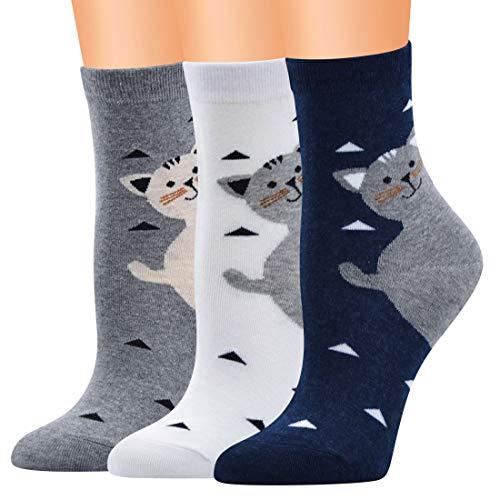 Xiabing Calze termiche da donna in cotone alla caviglia, con personaggi dei cartoni animati Gatti C, 3 paia Taglia unica