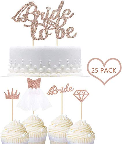 Braut Kuchen Topper,25 Stück Glitter Bride Cupcake Topper Brautkleid Cupcake Topper für Hochzeit Bachelorette Party Dekorationen Kuchen