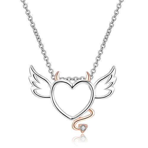 Cestbon Herz Engel Halskette Herz Anhänger Mit Flügeln 45Cm Engel & Dämon Rose Gold Farbe Mädchen Geburtstagsgeschenke,Silber