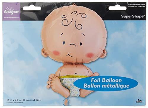 amscan 10107633 6540801 - Super Shape Folienballon Welcome Baby, Größe circa 41 x 64 cm, Heliumballon, Geburt, Babyparty