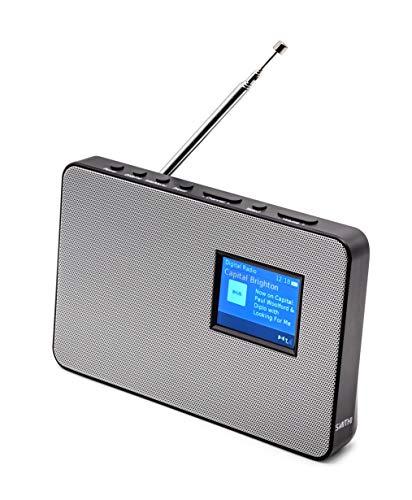 Smith-Style Metal DAB + FM DAB Digitalradio Tragbares Radio, Grillfeld, Uhr und 2,8-Zoll-Farbbildschirm - DAB-Radio/FM-Radio Batterie & Netz mit 80 Voreinstellungen - Silber