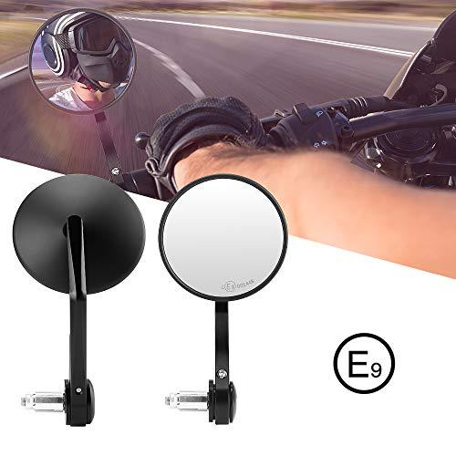 Lenkerendenspiegel Motorrad, 2 Stück Motorrad Spiegel mit E Prüfzeichen, 360°drehbarer Lenkerspiegel kompatibal für MT07 MT09 S1000 FZ8 G310R R1200